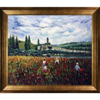 Claude Monet 'Poppy Field near Vetheuil' Hand-painted Framed Canvas-art