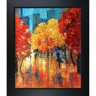 Justyna Kopania 'Autumn (Umbrellas)' Hand-painted Framed Canvas-art