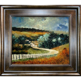 Pol Ledent 'Sechery in Autumn' Hand-painted Framed Canvas-art
