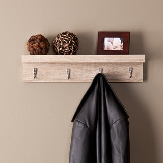 Upton Home Arcadia Light Oak Wall Mount Shelf with Hooks