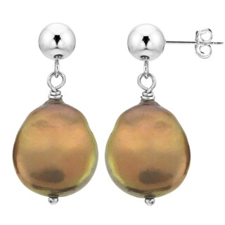 DaVonna Sterling Silver Brown Coin-shape Pearl Dangle Earrings (10-11 mm)
