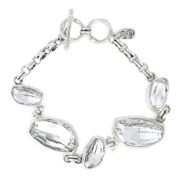 Crystal Clear Calypso Stone in Sterling Silver Bracelet