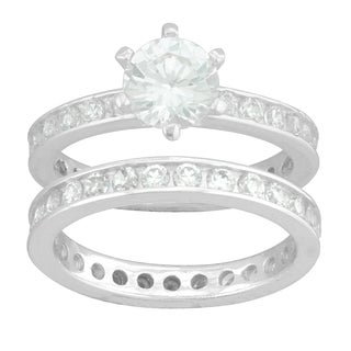 Sterling Silver White Round Cubic Zirconia Bridal-style Ring Set