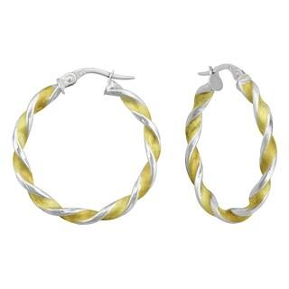 14k Two-tone Gold Twisted Hoop Earrings