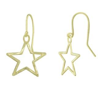 14k Gold Diamond-cut Star Shape Dangle Earrings