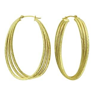 14k Gold Diamond-cut Oval Triple Tube Hoop Earrings