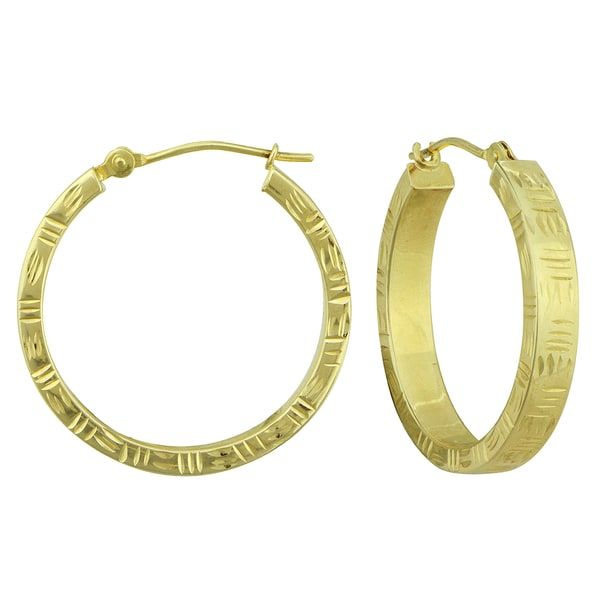 14k Gold Kaleidoscope Square Tube Hoop Earrings
