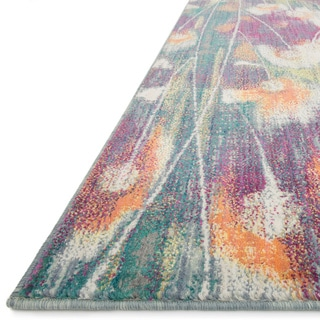 """Contemporary Pink/ Teal Abstract Floral Area Rug - 7'7"""" x 10'5"""""""
