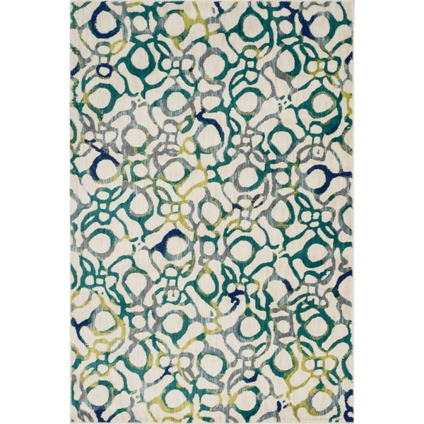 Skye Monet Teal/ Multi Rug (3'9 x 5'2)