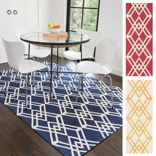 Flatweave Ledbury Diamond Lattice Cotton Rug (7'6 x 9'6)