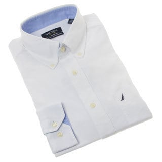 Nautica Men's Solid White Cotton Dress Shirt
