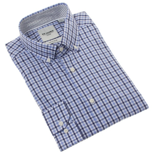 Ben Sherman Men's Tailored Slim Fit Blue Gingham Dress Shirt