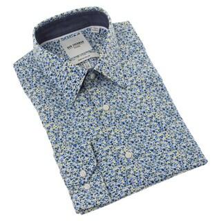 Ben Sherman Men's Blue and Yellow Floral Dress Shirt
