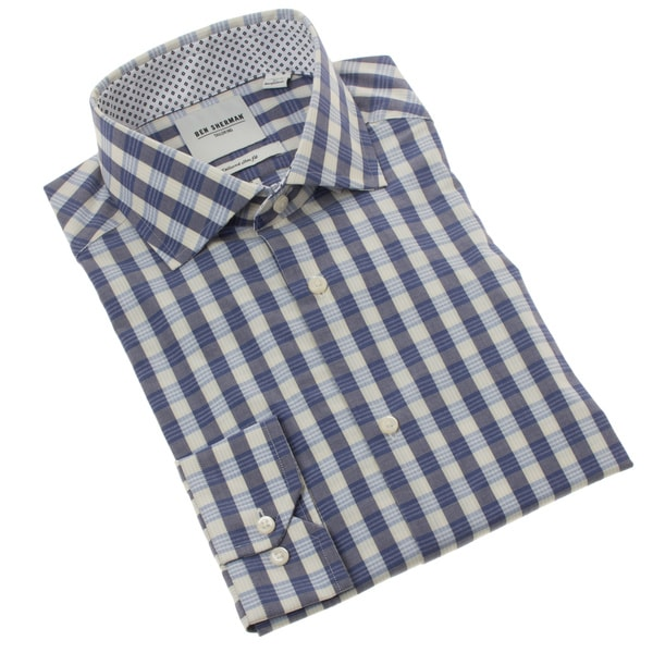 Ben Sherman Men's Slim Fit Navy Gingham Dress Shirt