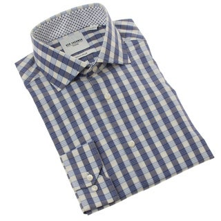 Ben Sherman Men's Slim Fit Navy Gingham Dress Shirt