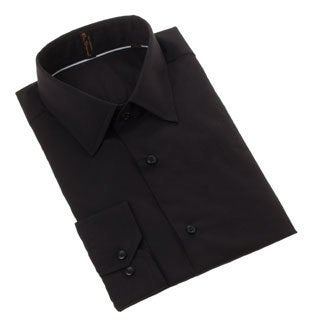 Ben Sherman Men's Slim Fit Solid Black Dress Shirt