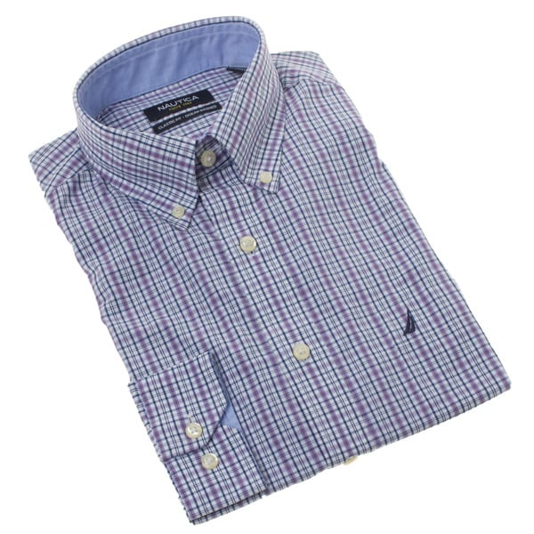 Nautica Men's Purple Plaid Dress Shirt