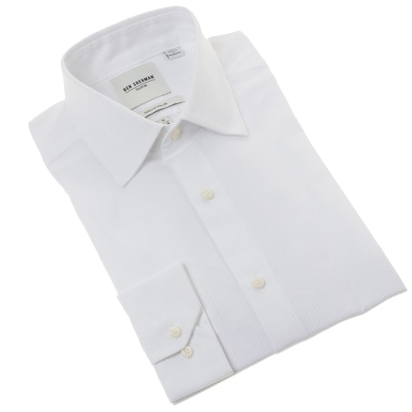 Ben Sherman Men's Solid White Tonal Striped Dress Shirt