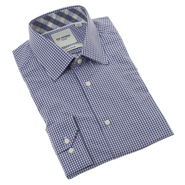 Ben Sherman Men's Slim Fit Navy Micro-gingham Dress Shirt