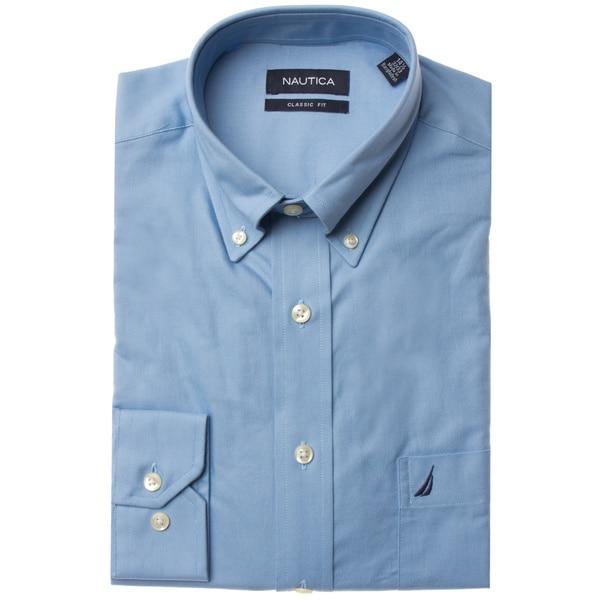 Nautica Men's Solid Blue Dress Shirt