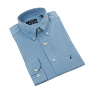 Nautica Men's Solid Blue Dress Shirt