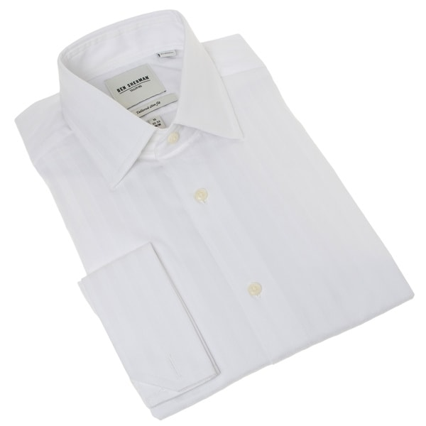 Ben Sherman Men's White Textured French-cuff Dress Shirt