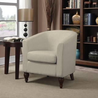 Portfolio Marly Barley Tan Linen Barrel Arm Chair