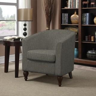 Portfolio Marly Smoky Grey Charcoal Linen Barrel Arm Chair