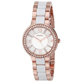 Fossil Women's ES3561 Virginia Rose Goldtone Stainless Steel and Nylon Watch