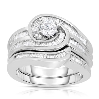 Eloquence 14k White Gold 1 1/4ct TDW Round Diamond Swirl Wedding Set (H-I, I1-I2)