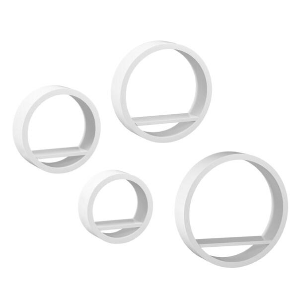 Upton Home Buras White 4-piece Circular Shelf Set - 16770501 ...