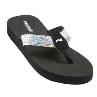 Silver Sequin Flip Flops