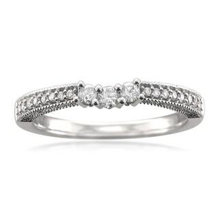 14k White Gold 1/4ct TDW Diamond Contoured Milgrain Wedding Band (H-I, SI2-SI3)