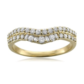 14k Yellow Gold 1/2ct TDW Diamond Round/Baguette Double Row Band (H-I, SI2-SI3)