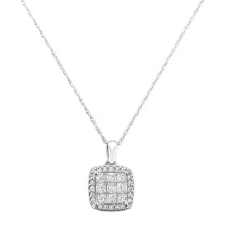 14k White Gold 1/2ct TDW Diamond Pave Solitaire Pendant (H-I, SI2-SI3)