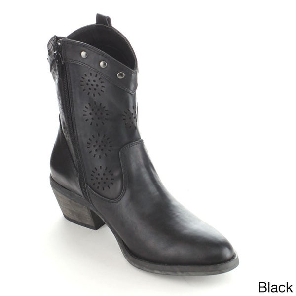 C-Lable Jack 7 Women's Studded Hollow Out Mid-Calf Riding Boots