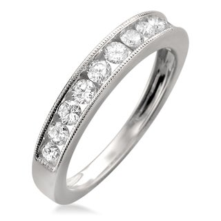 18k White Gold 1/4ct TDW Diamond Milgrain Channel-set Wedding Band (F-G, VS1)