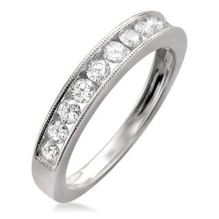 18k White Gold 1/2ct TDW Diamond Milgrain Channel-set Wedding Band (F-G, VS1)
