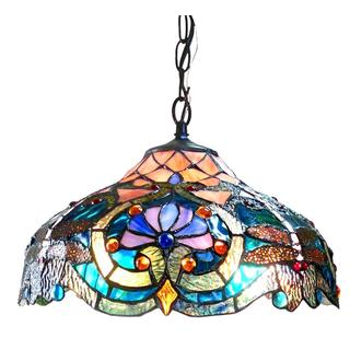 Tiffany Style Victorian/Dragonfly Design 2-light Pendant
