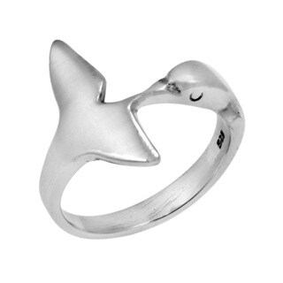 Dolphin Tail Embrace Wide Wrap Sterling Silver Ring (Thailand)