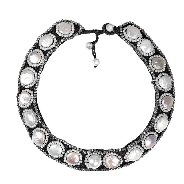 Statement Freshwater Pearl Coin Embellished Bib Necklace (Thailand)