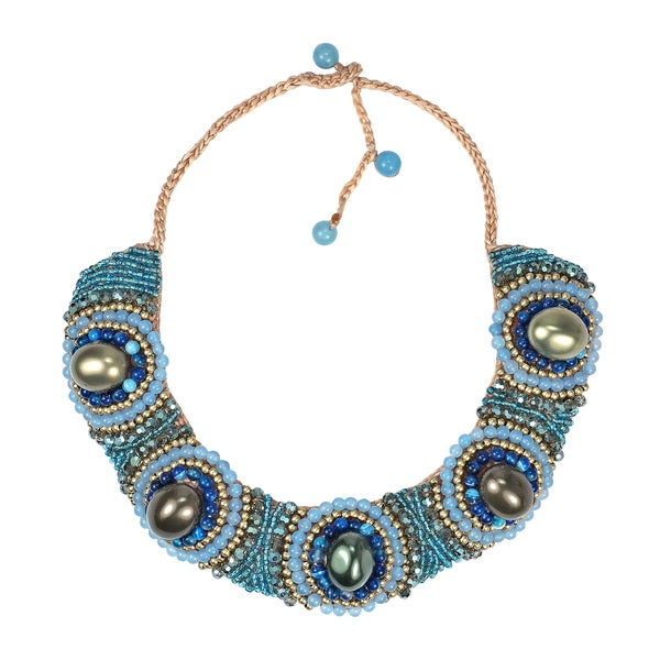 Festive Blue Tone Stones Cotton Rope Bib Necklace (Thailand)