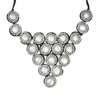 Exotic Circles Mosaic Freshwater Coin Pearls Necklace (Thailand)