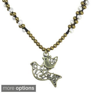 Interlacing Freshwater Pearl Animal Motif Brass Necklace (Thailand)