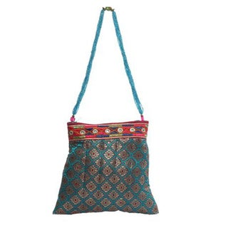 Turquoise Silk Brocade Evening Bag with Beads (India)