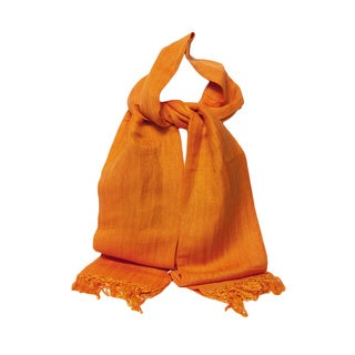 Coral Handwoven Linen and Viscose Scarf (India)