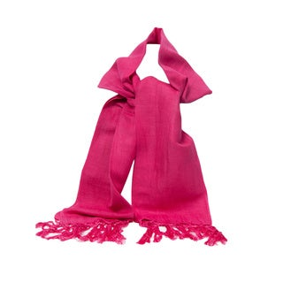 Bright Pink Handwoven Linen and Viscose Scarf (India)