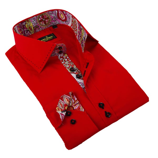 Banana Lemon Men's Red Patterned Button-down Shirt