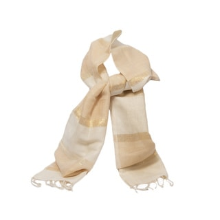 Natural Handwoven Linen and Cotton Striped Scarf (India)