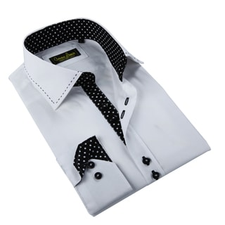 Banana Lemon Men's White and Black Patterned Button-down Shirt
